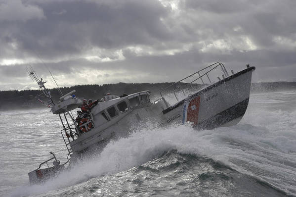 Horizontal Print featuring the photograph U.s. Coast Guard Motor Life Boat Brakes by Stocktrek Images