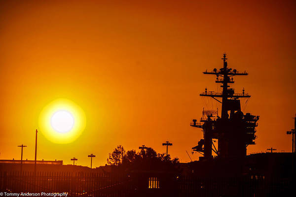 Aircraft Carrier Art Print featuring the photograph Uss Carl Vinson At Sunset 3 by Tommy Anderson