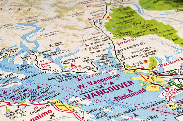 Vancouver Art Print featuring the photograph Vancouver Map by Fernando Barozza