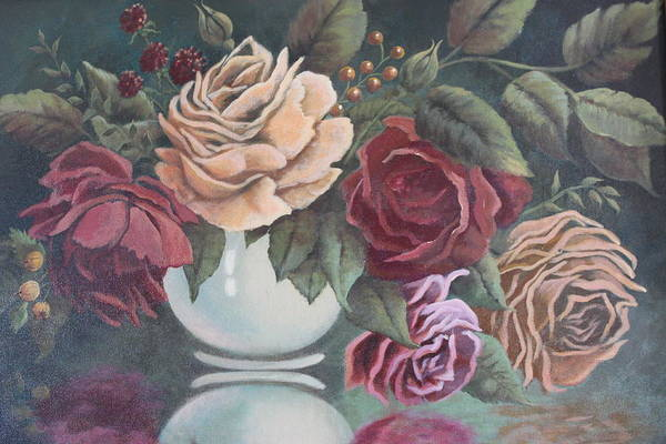 Roses Art Print featuring the painting Vase Of Roses by Diana Miller