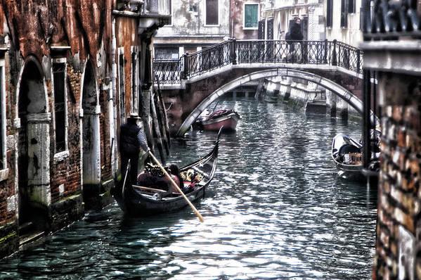 Venetian Bypass Venezia Venice Bridge Gondola Canale Mill Run Canal Ship Canal Wall Red Brick Water Art Print featuring the photograph Venetian Bypass by Marco Moscadelli