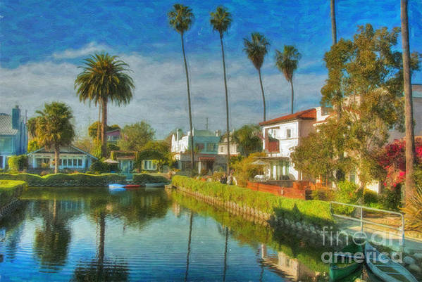 Venice Art Print featuring the photograph Venice Canal Houses Watercolor by David Zanzinger