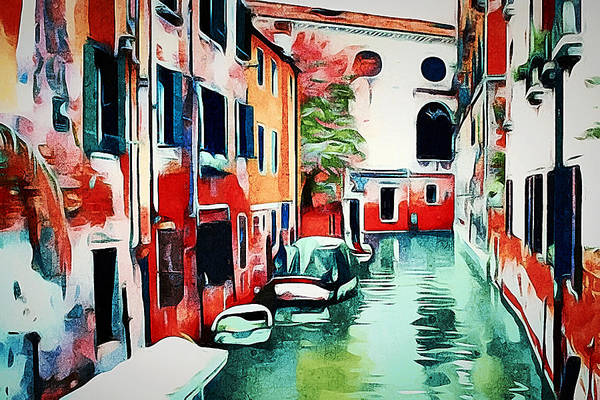Venice Art Print featuring the digital art Venice Color Magic 3 by Yury Malkov