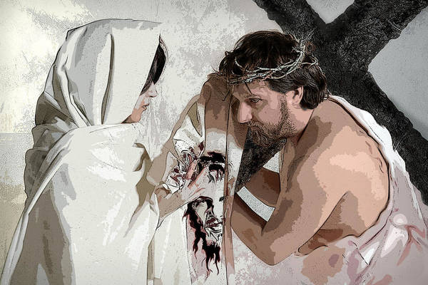 Religious Art Print featuring the photograph Veronica Wipes The Face Of Jesus by Jacqueline Milner