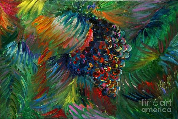 Grapes Art Print featuring the painting Vibrant Grapes by Nadine Rippelmeyer