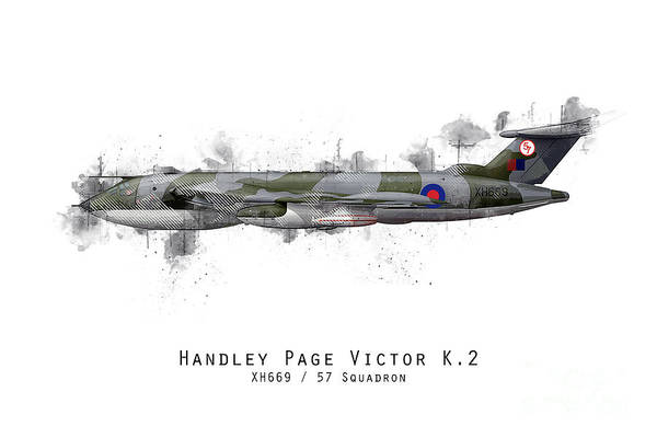 Handley Page Victor Art Print featuring the digital art Victor Sketch - Xh669 by J Biggadike