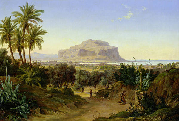View Art Print featuring the painting View Of Palermo With Mount Pellegrino by August Wilhelm Julius Ahlborn