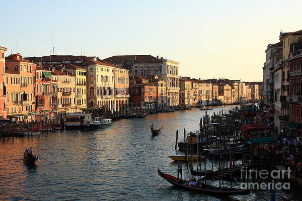 Venice Art Print featuring the photograph View Of The Grand Canal In Venice From The Rialto Bridge by Michael Henderson
