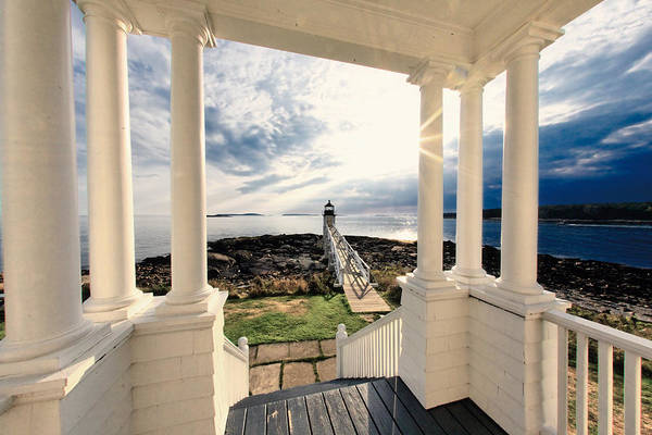 Atlantic Ocean Art Print featuring the photograph View Of The Marshall Point Lighthouse From The Keeper's House by George Oze