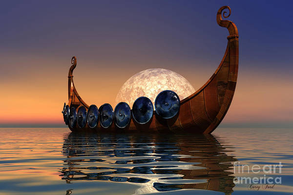 Viking Art Print featuring the painting Viking Boat by Corey Ford