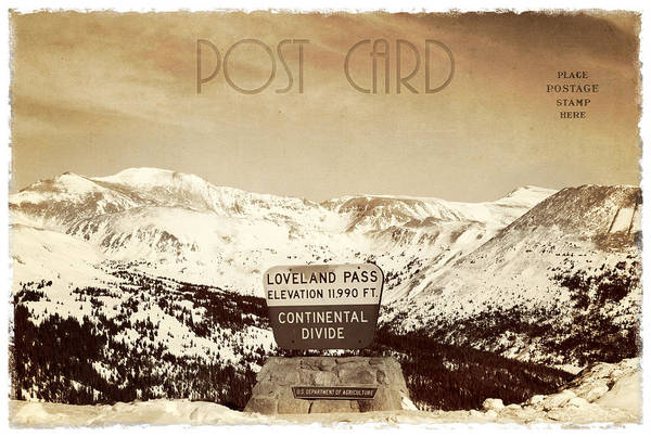 Background Art Print featuring the photograph Vintage Style Post Card From Loveland Pass by Juli Scalzi