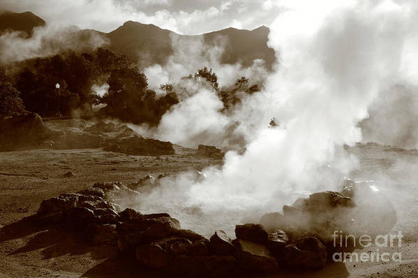Azores Art Print featuring the photograph Volcanic Steam by Gaspar Avila