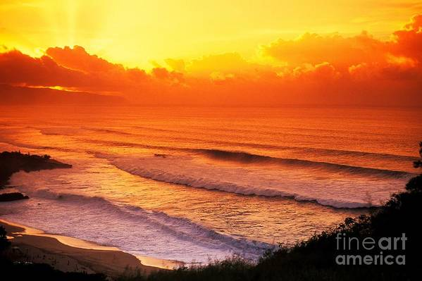 Afternoon Art Print featuring the photograph Waimea Bay Sunset by Vince Cavataio - Printscapes