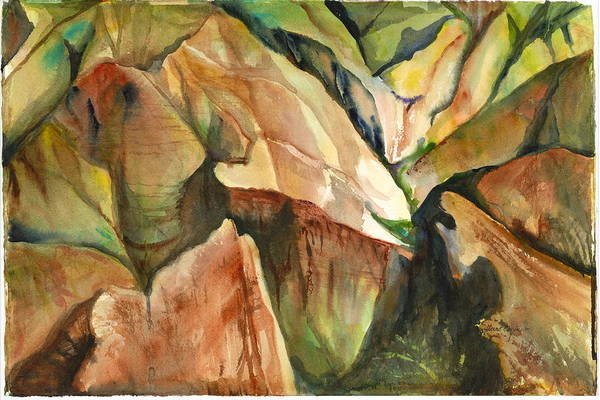 Landscape Of Mountain And Canyons Art Print featuring the painting Waimea Canyon by Ileana Carreno