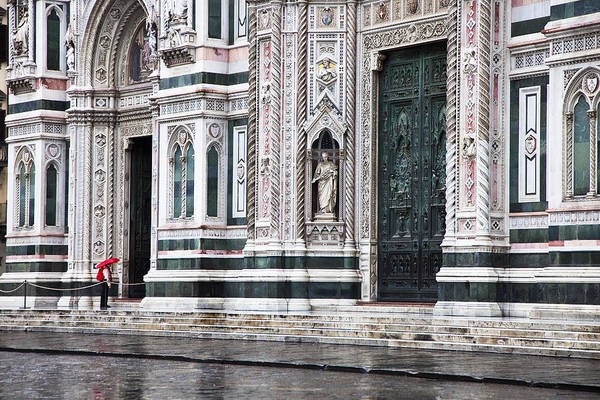 Europe; Italy; Florence; Santa Maria Del Fiore Cathedral; Umbrella; Rainy; Daytime; One Person; Red; Travel Destination; Church; Religion; Tourist; Travel Destination Art Print featuring the photograph Waiting In The Rain by Eggers Photography