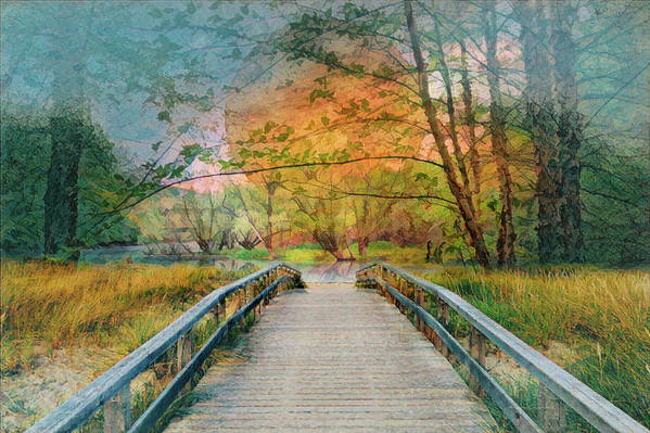 Appalachia Art Print featuring the photograph Walk To The Lake In Watercolors by Debra and Dave Vanderlaan