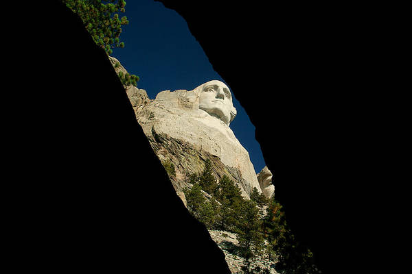 Mount Rushmore Art Print featuring the photograph Washington From Inside by Mike Oistad