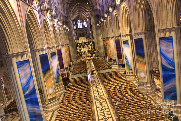 Hdr Art Print featuring the photograph Washington National Cathedral Iv by Irene Abdou