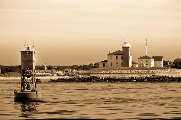 Lighthouse B&w Boat Sea Building Mooring Marina City Water Navigation Art Print featuring the photograph Watch Hill Light 2 by Arthur Sa