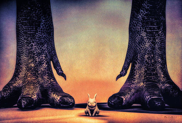 Dinosaur Art Print featuring the digital art Watch Out Little Bunny by Bob Orsillo