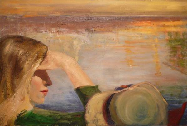 Side View Of A Girl Art Print featuring the painting Watching The Sails by Irena Jablonski