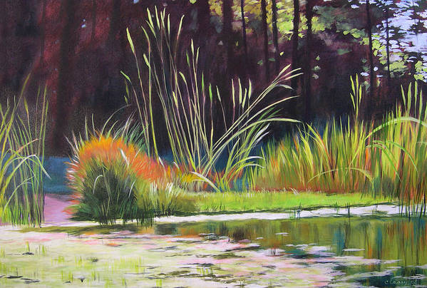 Acrylic Art Print featuring the painting Water Garden Landscape by Melody Cleary