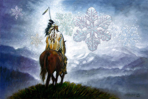 American Indian Art Print featuring the painting We Vanish Like The Snow Flake by John Lautermilch