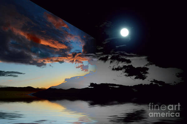 Moon Art Print featuring the photograph Welcome Beach Day And Night 2 by Elaine Hunter