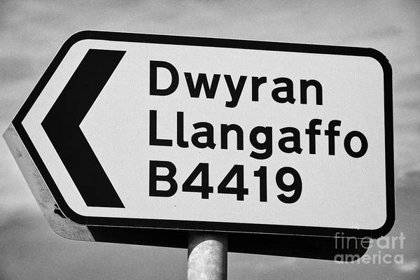 Welsh Art Print featuring the photograph Welsh Rural Roadsign For B Road On Anglesey Wales Uk by Joe Fox