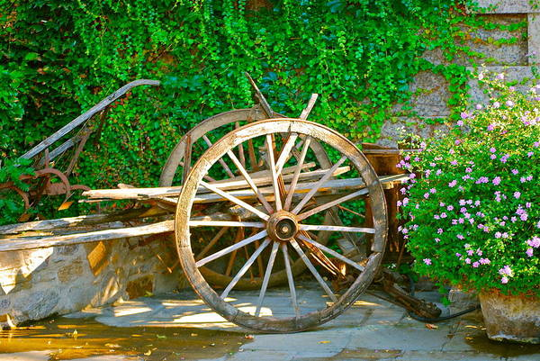 Wooden Wheel Art Print featuring the photograph Wheel Of Happiness by Dorota Nowak