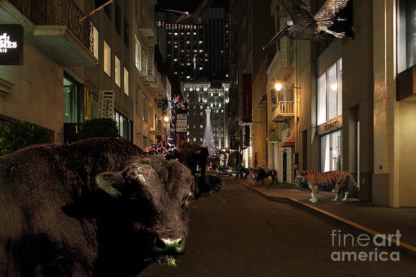 San Francisco Art Print featuring the photograph When The Lights Go Down In The City by Wingsdomain Art and Photography