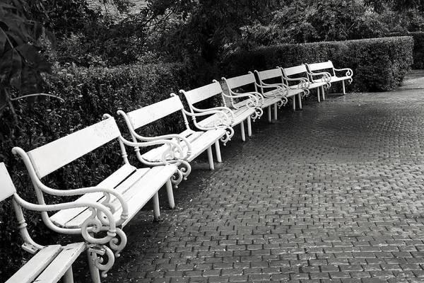 Black And White Art Print featuring the photograph White Benches- By Linda Wood Woods by Linda Woods