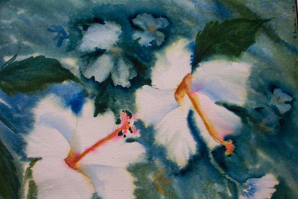 Hibiscus Art Print featuring the painting White Hibiscus by Ruth Bevan