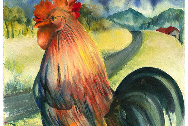 Beatiful Colos Art Print featuring the painting Why Did The Rooster Cross The Road by Ileana Carreno