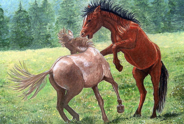 Wild Art Print featuring the drawing Wild Horses by Lorraine Foster