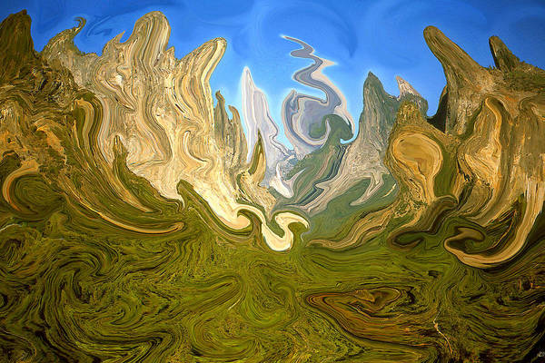 Yosemite Art Print featuring the painting Wild Yosemite - Abstract Modern Art by Peter Potter