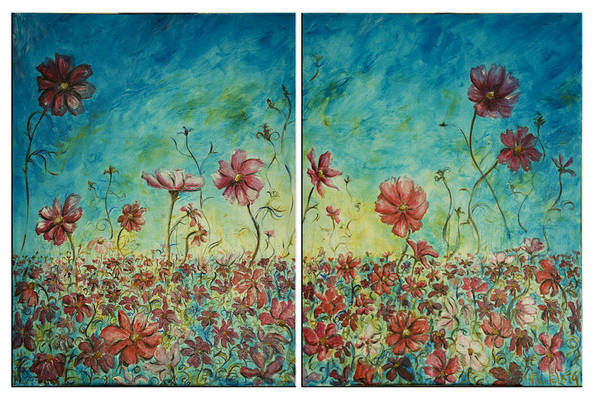 Flowers Art Print featuring the painting Wind Dancers by Nik Helbig