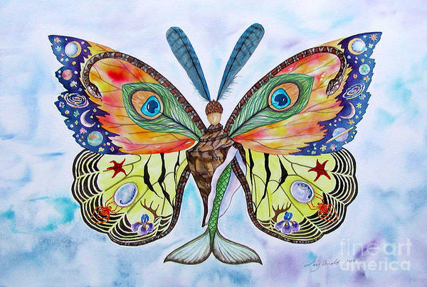 Butterfly Art Print featuring the painting Winged Metamorphosis by Lucy Arnold
