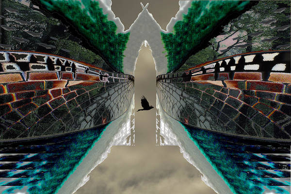 Potography Digital Landscape Wedgetail Eagle Birds Insects Rainforest Global Warming Art Print featuring the painting Wings To A Rainforest by Sarah King