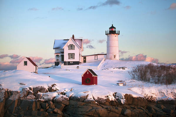 Nubble Art Print featuring the photograph Winter At Nubble by Eric Gendron