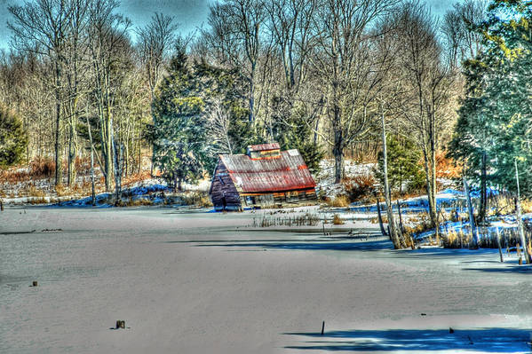 Rcouper Art Print featuring the photograph Winter Boathouse by Rick Couper