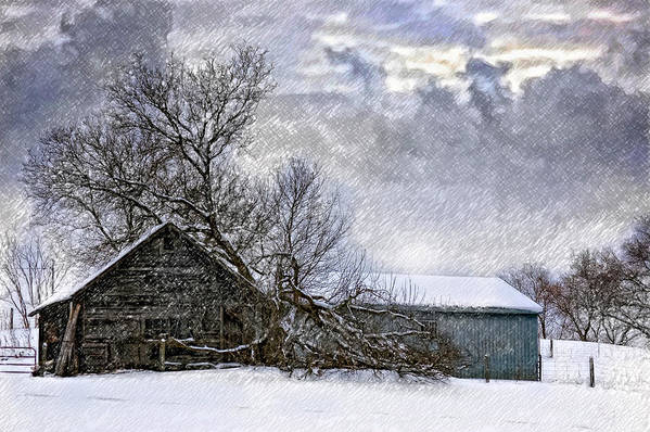 Winter Print featuring the photograph Winter Farm by Steve Harrington