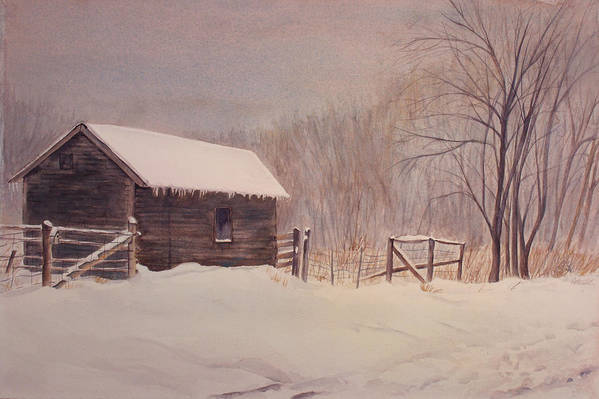 Barn Art Print featuring the painting Winter On The Farm by Debbie Homewood