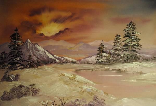 Winter Art Print featuring the painting Winter Sunburst by James Higgins
