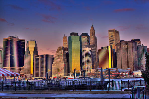 City Art Print featuring the photograph Winter Sunrise Over Downtown Manhattan by Val Black Russian Tourchin