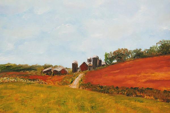 Konkol Art Print featuring the painting Wisconsin Farm by Lisa Konkol