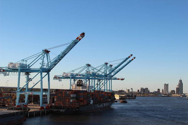 Cranes Working The Port Of New Orleans Art Print featuring the photograph Working The Port Of New Orleans by Robert Smith
