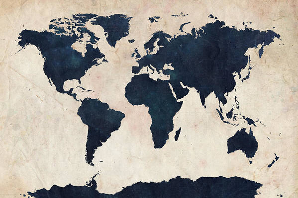 Map Of The World Art Print featuring the digital art World Map Distressed Navy by Michael Tompsett