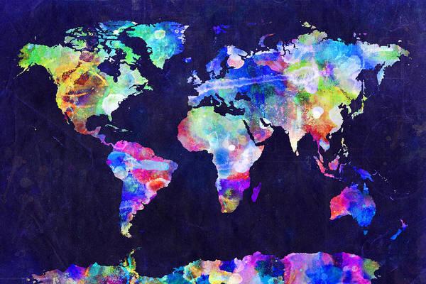 Map Of The World Art Print featuring the digital art World Map Urban Watercolor by Michael Tompsett