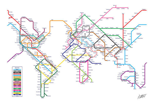 World metro tube subway map art print by michael tompsett world map art print featuring the digital art world metro tube subway map by michael tompsett gumiabroncs Images